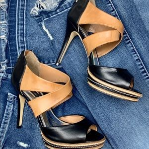 WHBM Vachetta Black & Tan Zipper Back Heels